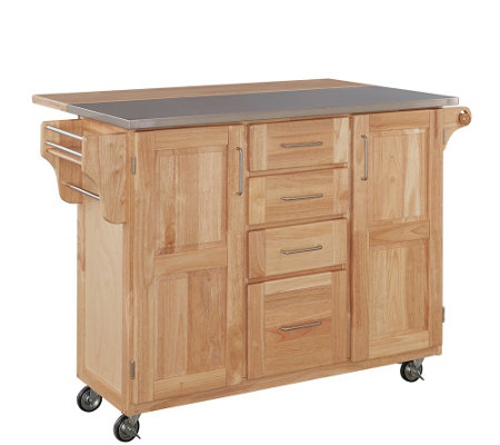 Home Styles Stainless Steel Top Kitchen Cart -Nural Finish