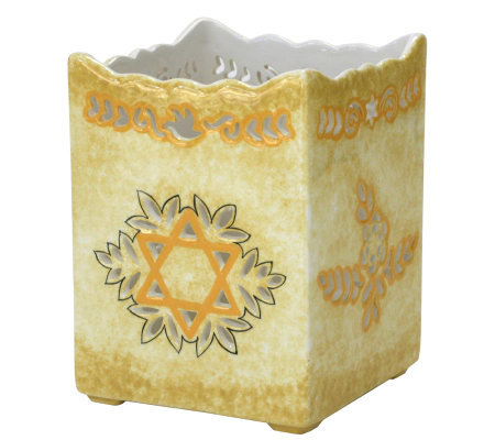 Copa Judaica Pierced-Work Star of David Cache Pot