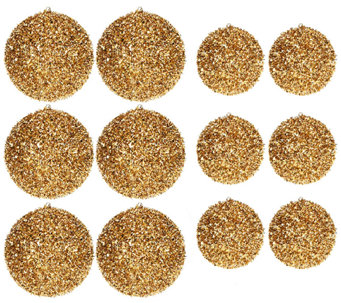 12-Piece Shimmering Glitter Ball Ornaments by Valerie - H203421