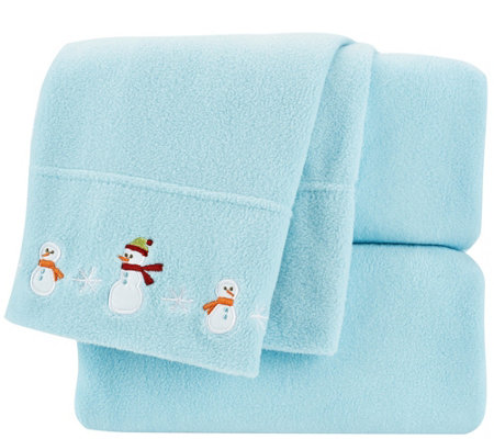 Malden Mills KG Holiday Embroidered Polarfleece Sheet Set