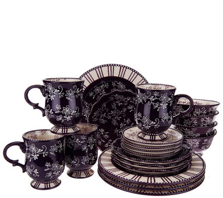 Captivating Temp Tations 20 Piece Floral Lace Service For 4 Dinnerware Set