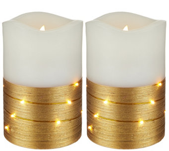 "Lightscapes (2) 5"" Metallic Swirl Light Flameless Candles - H208621"