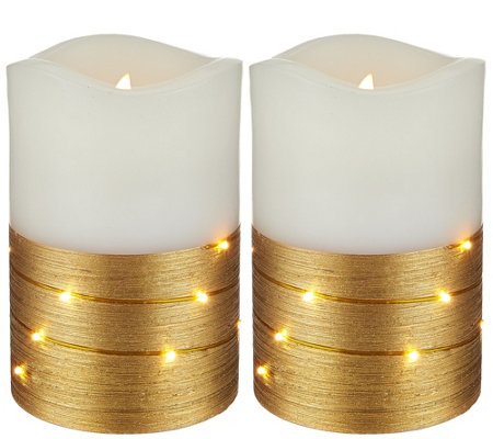 "Lightscapes (2) 5"" Metallic Swirl Light Flameless Candles"