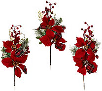 "Set of 3 18"" Oversized Poinsettia and Berry Picks - H208821"