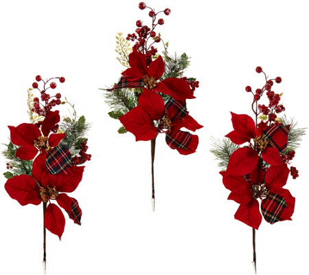 "Set of 3 18"" Oversized Poinsettia and Berry Picks"