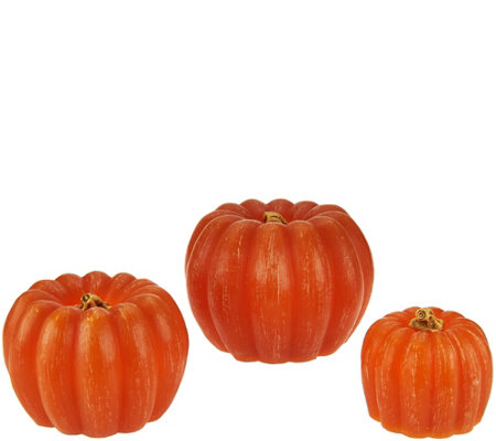 Set of 3 Illuminated Stacking Wax Pumpkins by Valerie