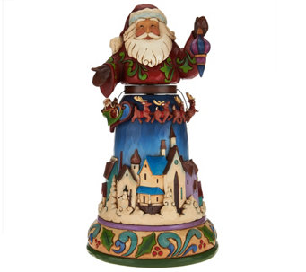 Jim Shore Heartwood Creek Santa with Spinning Reindeer Scene - H209321