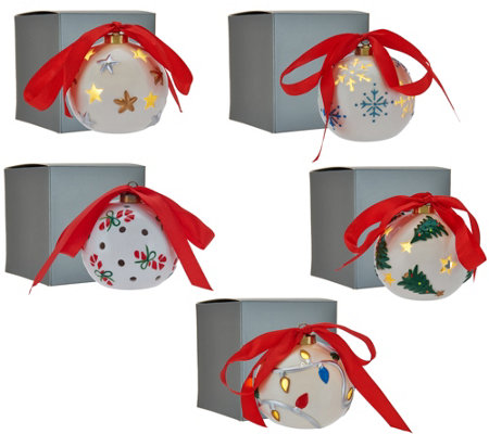 Lightscapes S/5 Lit Pierced Porcelain Ornaments with Gift Boxes