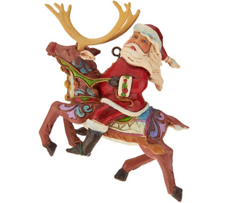 Jim Shore Heartwood Creek Santa on Reindeer Ornament
