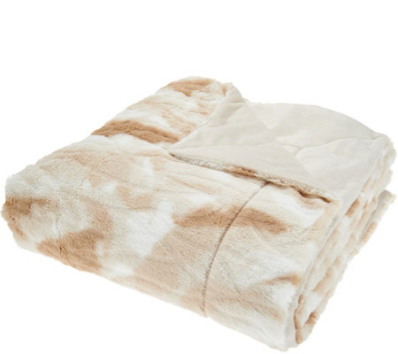 "Dennis Basso 68"" x 60"" Oversized Sculpted Faux Fur Throw"