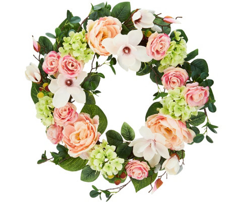 "24"" Spring Raspberry Rose and Magnolia Wreath by Valerie"