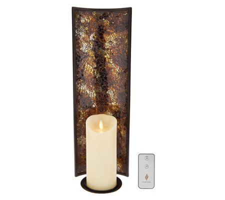 "Luminara 18"" Mosaic Wall Sconce w/6"" Pillar & Remote"