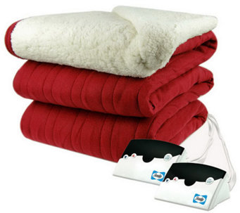 Biddeford Knit Queen Size Heated Blanket with Sherpa Back - H282421