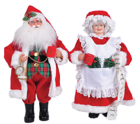"15"" Set of 2 Mr. and Mrs. Claus by Santa's Workshop"