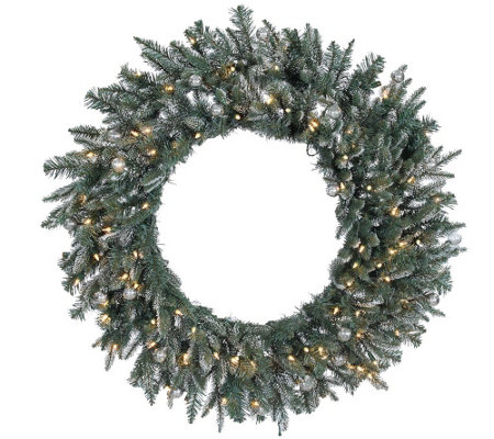 "36"" Frosted Crystal Balsam Wreath by Valerie"