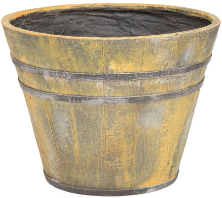 Plow & Hearth Faux-Wood Bucket Planter