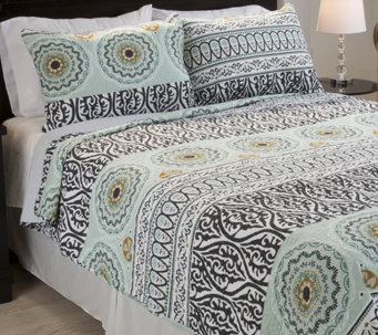 Lavish Home Muna Embroidered 3-Piece King QuiltSet - H288721