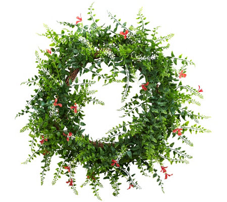"18"" Floral & Fern Double Ring Wreath by NearlyNatural"
