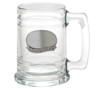 Groomsman Glass Tankard w/Stainless Steel Plate - H348721