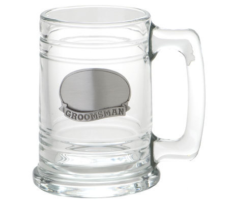 Groomsman Glass Tankard w/Stainless Steel Plate
