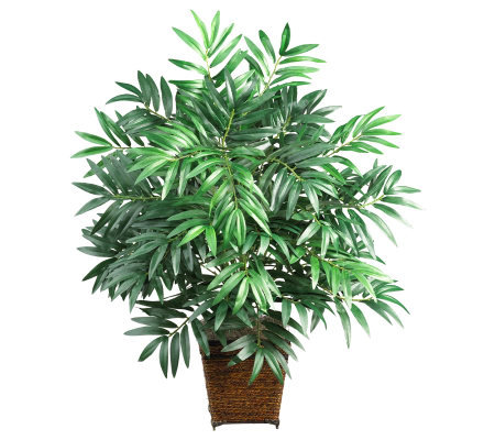 Bamboo Palm Plant with Basket by Nearly Natural