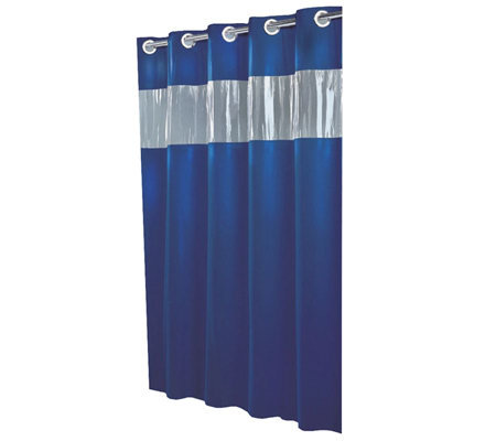 Hookless Blue Shower Curtain W Vinyl Window Page Qvc Com