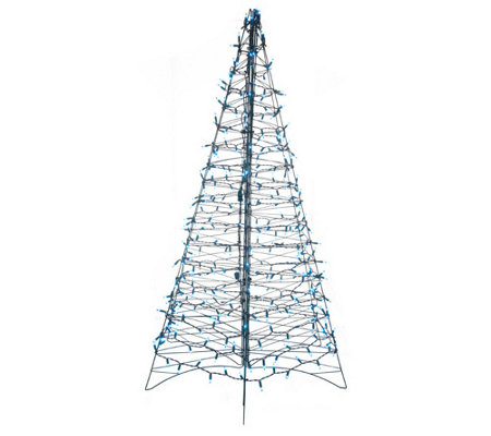 """As Is"" Pre-Lit 6' Fold Flat Outdoor Christmas Tree by Lori Greiner"