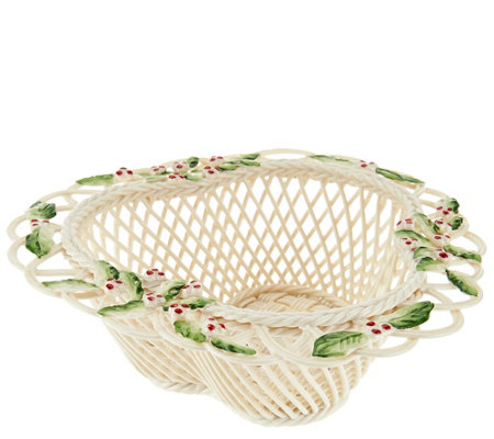 Belleek Holly Berry Basket