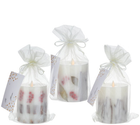 Bethlehem Lights S/3 Embedded Holiday Scented Touch Candles