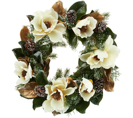 """As Is"" 24"" Iced Magnolia and Pinecone Wreath by Valerie"
