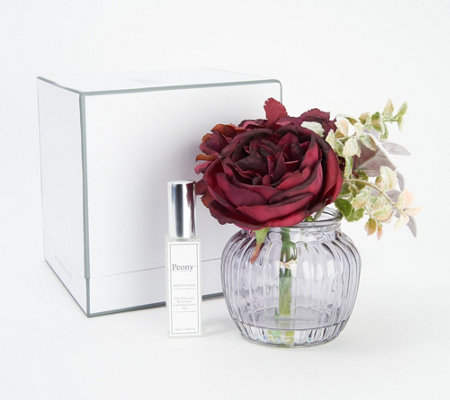 Gift Boxed Floral Arrangement in Vase w Spray by Peony