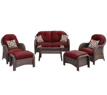 Hanover Outdoor Newport 6-Piece Woven Seating Set