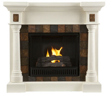 Maverick Convertible Faux Slate Gel Fireplace -Ivory - H354722