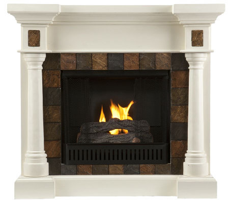 Maverick Convertible Faux Slate Gel Fireplace -Ivory