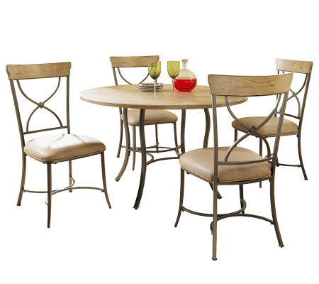 Hillsdale Charleston 5pc Round Dining Set w/Xbacked Chairs