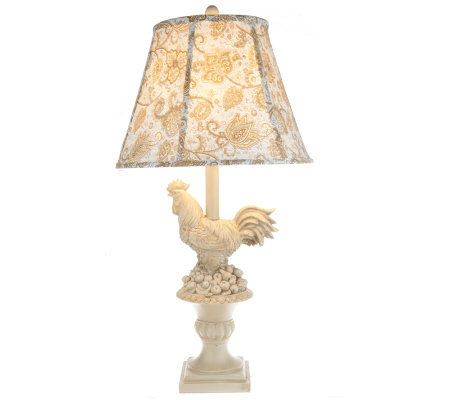Rooster Design 25-inch Lamp with Printed Shade by Valerie