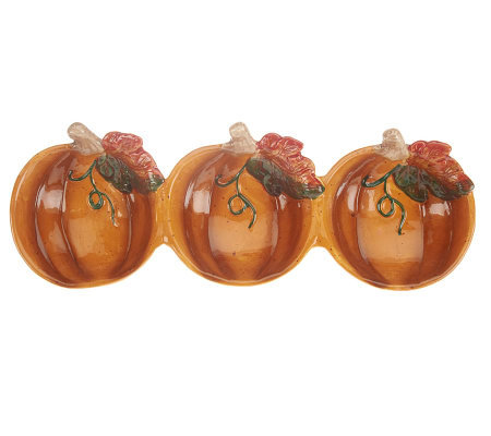 Handpainted Ceramic Pumpkin 3-section Dip Bowl