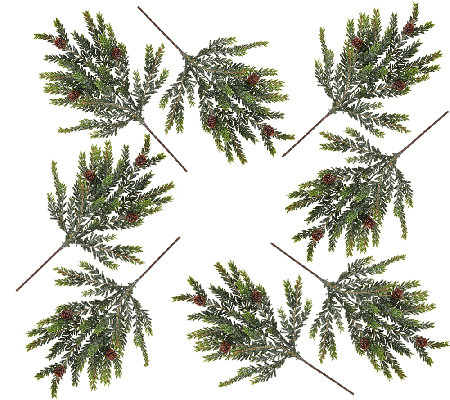 Set of 8 Snowy Hemlock Picks by Valerie