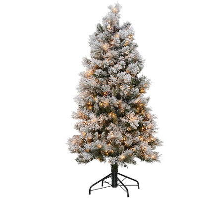 Kringle Express Flocked 5' Winter Slim Christmas Tree