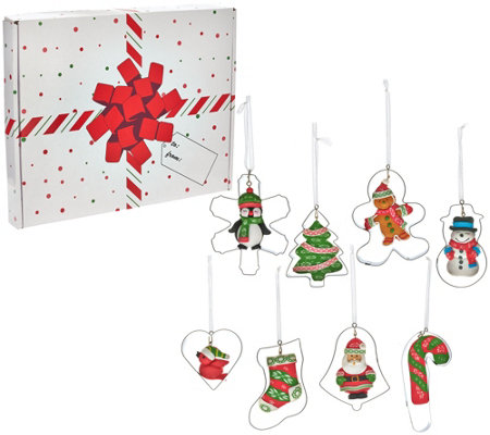 Temp-tations Set of 8 Cookie Cutter Ornaments with Gift Box