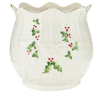 "Belleek Holly and Ivy 5"" Holiday Pot - H209023"