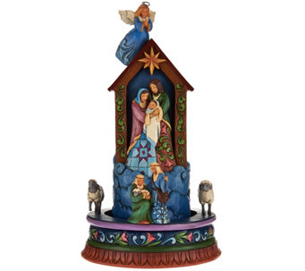 Jim Shore Heartwood Creek Christmas Angel with Spinning Nativity Scene - H209323