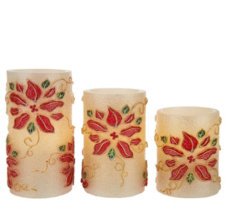 S/3 Poinsettia Embossed Flameless Candles by Valerie