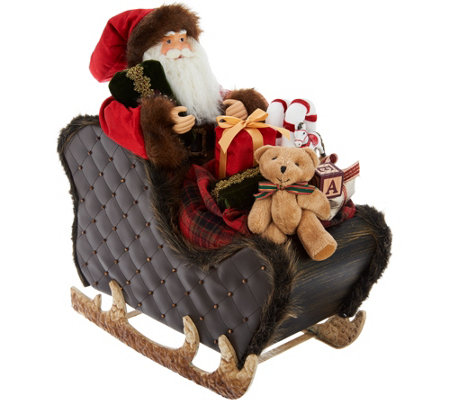 "18"" Santa in Sleigh with Faux Leather Accents by Valerie"