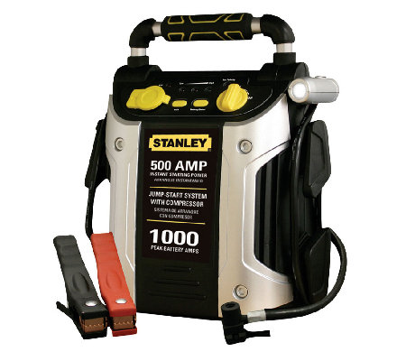 Stanley 500/1000 PEAK AMP Battery Starter, Compressor & Outle