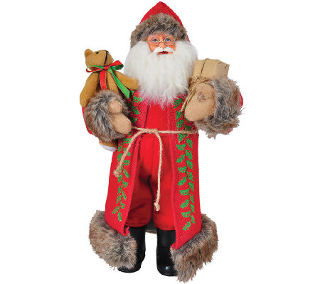 "15"" Red Burlap Claus by Santa's Workshop"