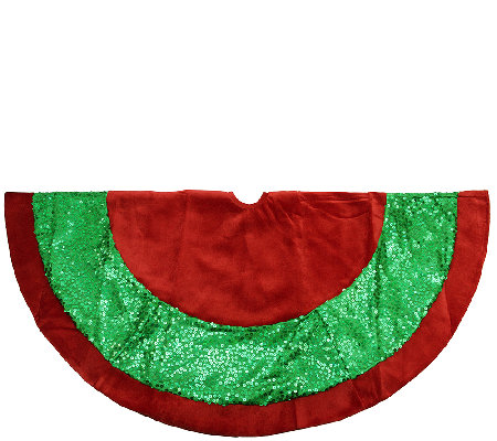 "48"" Red Velvet and Green Sequin Tree Skirt by Northlight"