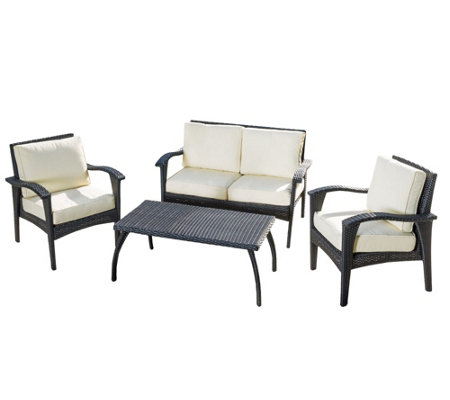 Denise Austin Home 4-PC Outdoor Wicker SeatingSet & Cushions