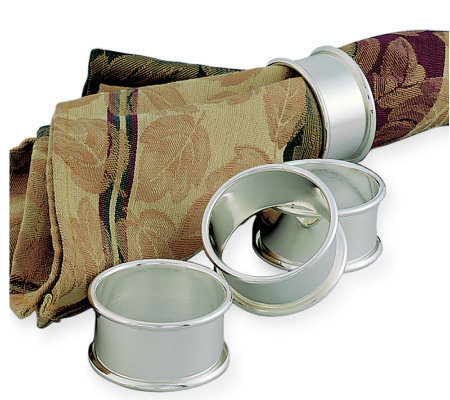 Nickel-Plated Rolled-Edge Napkin Rings - Set ofFour