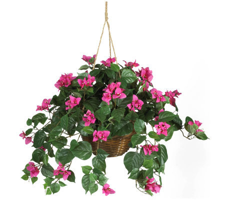 Pink Bougainvillea Silk Hanging Basket by Nearly Natural